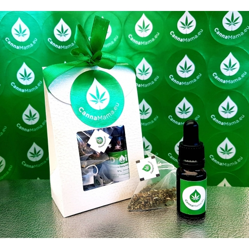 Set da Regalo 10ml 5% di Olio di CBD + 5 Bustine di Tè in Piramidi