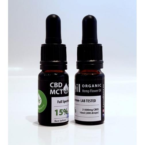 CannaMama 10ml Olio di Canapa 15% CBD/MCT oil Estratto Full Spectrum NATURALE 100% Huile